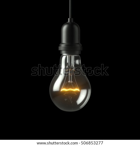 Lamp light bulb Illuminated on black studio background. 3D illustration