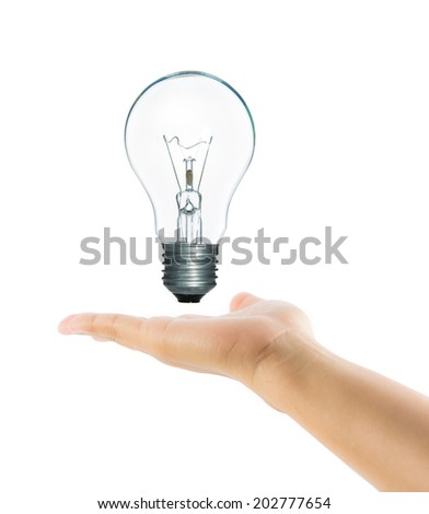Lamp light bulb on woman hand isolate on over white background