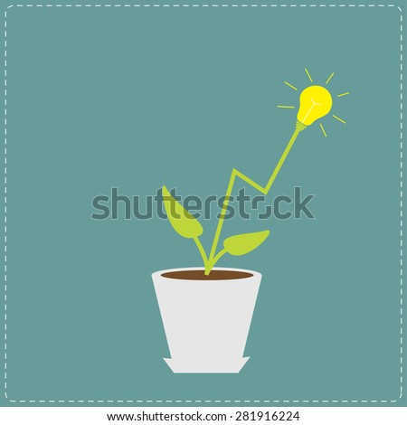 Lamp light bulb plant in the pot. Growing idea concept. Flat design  - stock photo