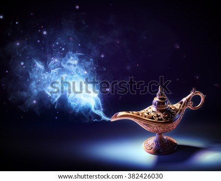 Lamp Of Wishes - Magic Smoke Coming Out Of The Bottle  - stock photo