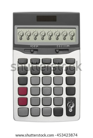 Lamp on calculator button and display for new creativity or get ideas and your text, isolated included clipping path - stock photo