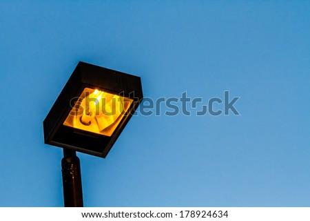 lamp on high post - stock photo