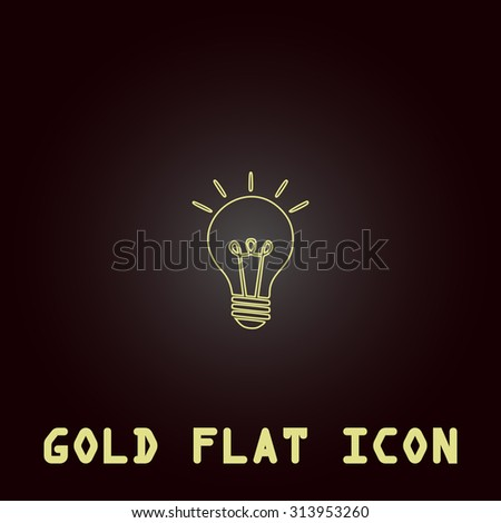 Lamp. Outline gold flat pictogram on dark background with simple text. Illustration trend icon