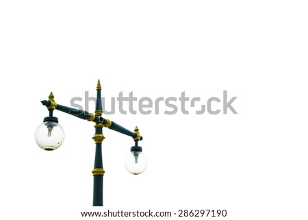 lamp post Isolated on white background. - stock photo