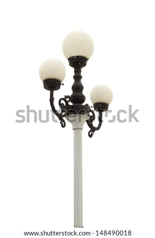 lamp post on white background (with clipping path)