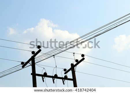Lamp post,wire,and sky background
