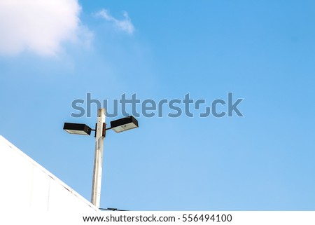 lamp post with blue sky background
