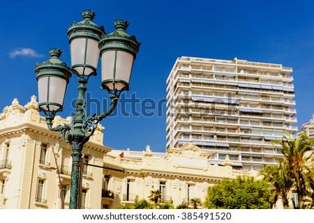 Lamp street in Monaco. Principality of Monaco - stock photo