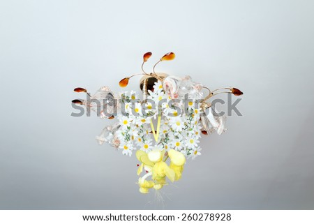 lamp with flowers - stock photo