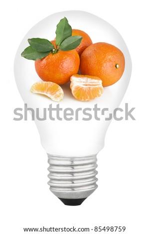lamp with fruit on white background - stock photo