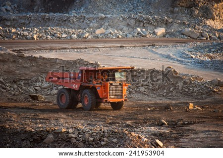 LAMPANG, THAILAND - DEC 29: coal-preparation plant. Big  mining truck at work site coal transportation, December, 29, 2014 in Lampang, Thailand - stock photo