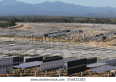 LAMPANG - THAILAND - December 1 : Landscape of under-construction solar farm at Hangchat solar farm on Dec 1, 2014 in Lampang province, Thailand