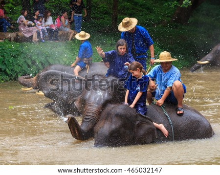 Lampang, Thailand July,2016: Daily elephant shower show at The Thai Elephant Conservation Center, July,2016 in Lampang, Thailand.