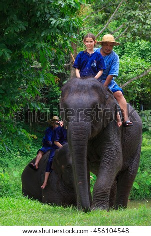 Lampang, Thailand July,2016: tourist ride an elephant at The Thai Elephant Conservation Center, July,2016 in Lampang, Thailand.