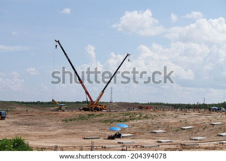 Lampang - THAILAND - JUNE 04 : Landscape of solar farm under-construction  in solar farm on June o4, 2014 in Lampang province, Thailand