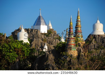 LAMPANG , THAILAND - NOVEMBER 23, 2014: Wat Prajomklao Rachanusorn Thai Temple.This amazing temple on top of mountain at Lampang,Thailand, November 23, 2014.