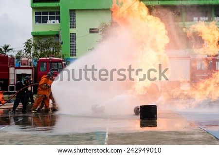 LAMPHUN, THAILAND- Jan 10, 2015:National Children's Day in Thailand. Fireman  show in Lamphun and Children's Day in Thailand on 10 January 2015.