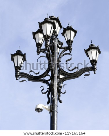 Lamppost at the Cathedral of Christ the Savior, Moscow - stock photo