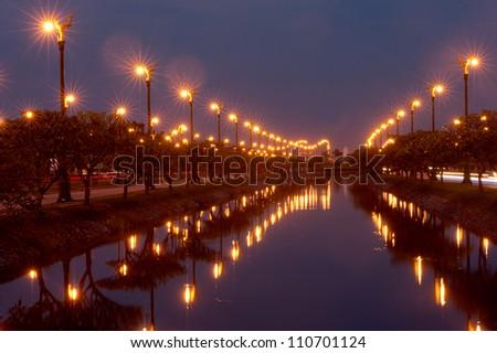 Lamppost in beautiful street of Bangkok in Thailand. - stock photo