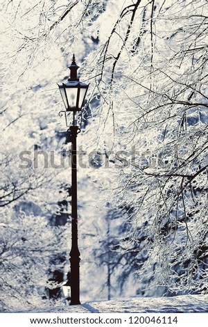 Lamppost in the winter park covered with white snow - stock photo