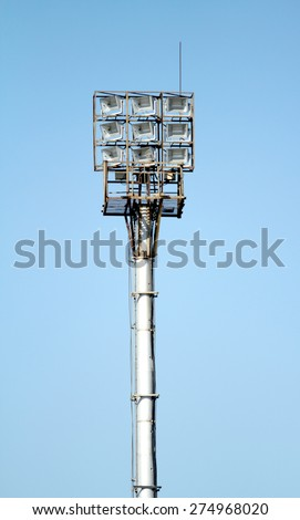lamppost on a background of blue sky - stock photo