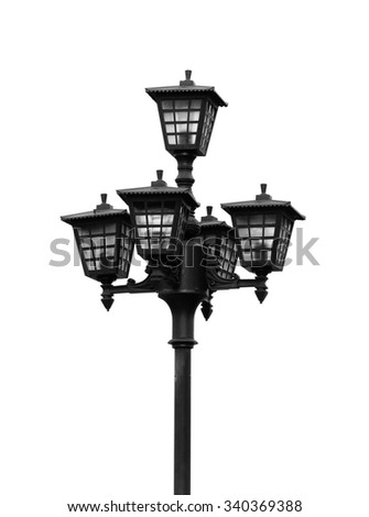 Lamppost street isolated on white background. - stock photo