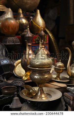 lamps, crafts, souvenirs  in street shop in cairo, egypt - stock photo