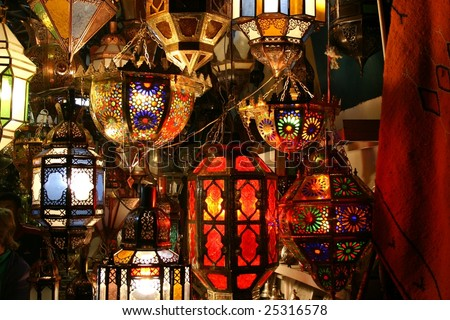 lamps in a store in marrakesh morocco - stock photo
