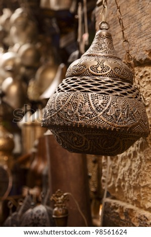 lamps in street shop in cairo, egypt - stock photo