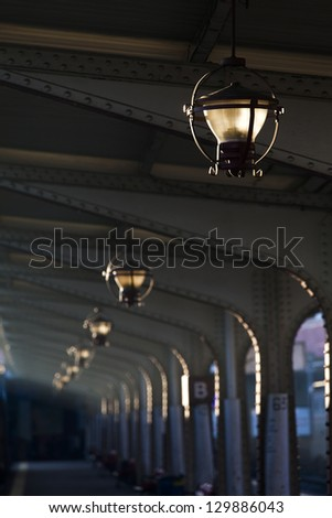 Lamps in train station