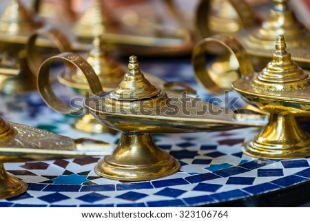 lamps like the one of aladins dschinn - stock photo