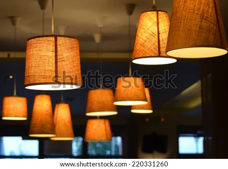 Lamps on a coffee shop  - stock photo