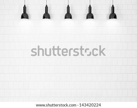lamps on a white wall - stock photo