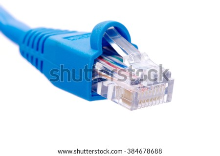 Lan cable and connector on white background - stock photo