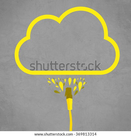LAN cable connected to cloud service, simple flat line illustration of internet technology cloud computing concept. - stock photo