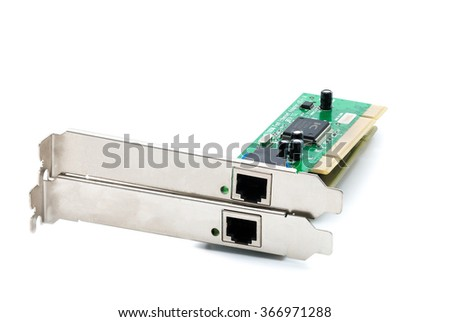 LAN Card for desktop computer isolated on white background - stock photo