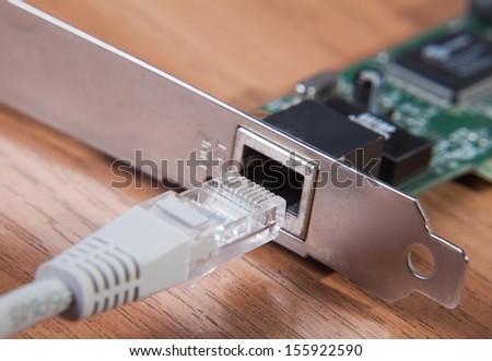 Lan connection is a close-up of the connection to the network - stock photo