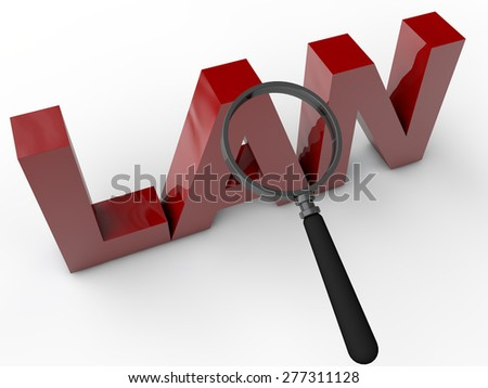 LAN - 3D text with magnifier over white background - stock photo