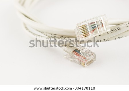 lan head with computer network cable on white - stock photo