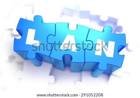 LAN -  Local Area Network - Text on Blue Puzzles on White Background. 3D Render.  - stock photo