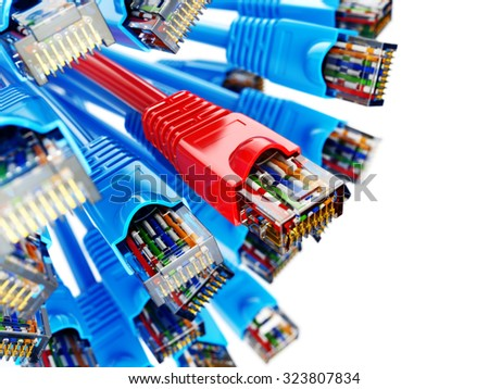 LAN network connection Ethernet RJ45 cables. Choise of provider concept. 3d - stock photo
