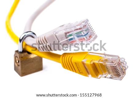 LAN network Ethernet cables locked with padlock. Network access (parental) control and Internet security concept. Close-up with Shallow Depth of Field. Isolated on white background. - stock photo