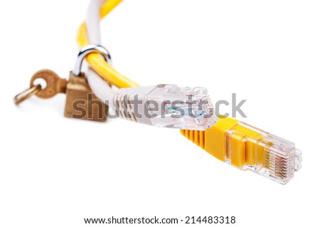 LAN network Ethernet cables locked with padlock. Network access (parental) control and Internet security concept. Close-up with Shallow DOF. Isolated on white background.   - stock photo