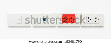 LAN socket, Phone socket and Electronic socket  on white wall - stock photo