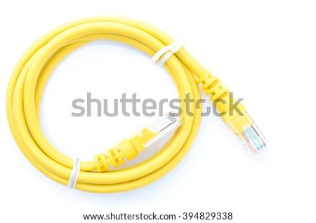 LAN yellow on a white background. - stock photo