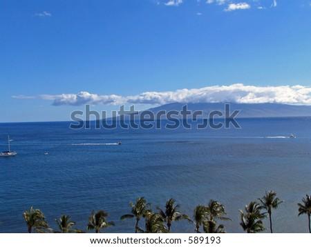 Lanai from Maui - stock photo