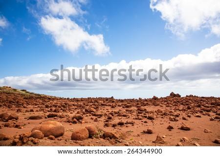 Lanai, Hawaii.  Garden of the Gods.  Red rocks and blue sky.  Looks like Mars - stock photo