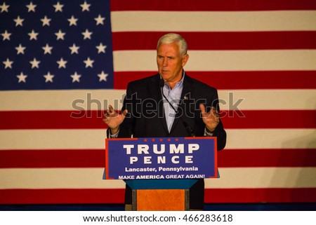 Lancaster, PA -?? August 9, 2016: GOP Vice Presidential candidate Gov. Mike Pence speaks during a campaign stop in Lancaster County.