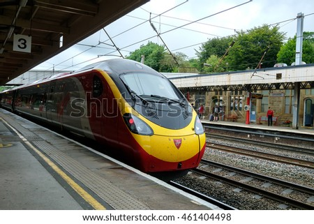 Lancaster , United Kingdom - July 30: Virgin Trains operate express train in Lancaster Castle railway station on July 30 2016 in Lancaster United Kingdom