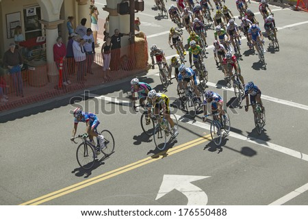 Lance Armstrong (#120) competes in the Garrett Lemire Memorial Grand Prix National Racing Circuit (NRC) on April 10, 2005 in Ojai, CA. - stock photo
